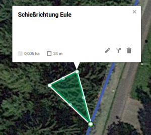 Mit dem Linien-Werkzeug kann ein Dreieck entsprechend des Schießbereichs eingezeichnet werden.